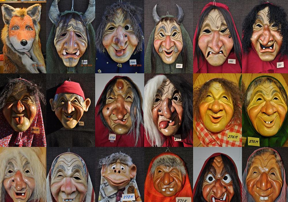 35 Masken, soweit das Auge reicht